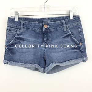CELEBRITY PINK FRAYED CUFF JEAN SHORTS